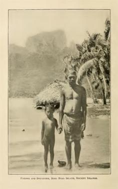 Père et fille sur une plage de Bora Bora (1916)