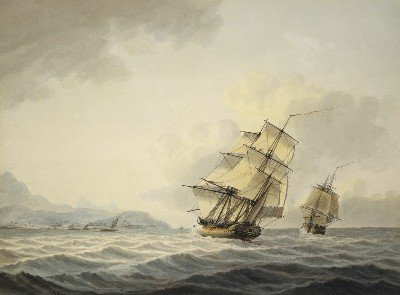Resolution and Discovery off the coast of Tahiti (1800)