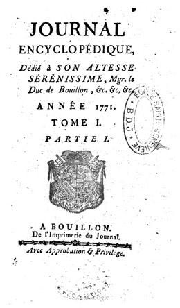 Journal encyclopédique – Année 1771 – Tome I