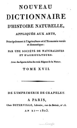 Nouveau dictionnaire d'histoire naturelle – Volume 17 (1803)