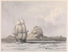 HMS Calypso quittant Bora Bora (1861)