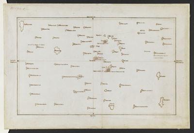 Copie d'une carte des îles de la Société de James Cook et Tupaia (1769)