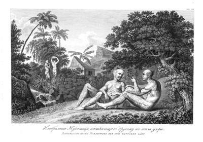 Marquisien de Nuku Hiva se laissant tatouer (1814)