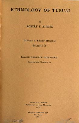 Ethnology of Tubuai (1930)