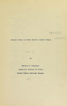 General notes on South Pacific island groups (1920-1923)