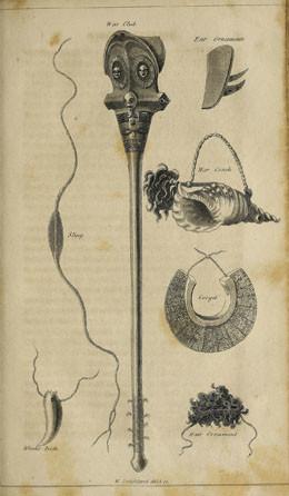Casse-tête, ornements d'oreille, plastron, conque de guerre, fronde,… (1815)
