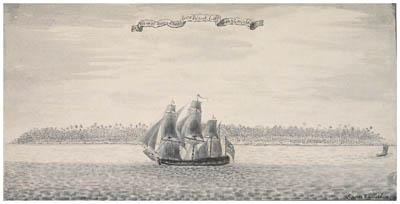 Dessin de Samuel Wallis : Nukutavake (1767)