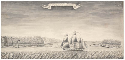 Dessin de Samuel Wallis : Mopelia (1767)