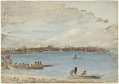 Le roi de Tahiti passe en revue ses pirogues de guerre (1802)