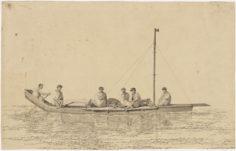 Pirogue et hommes de Tahiti (1777)