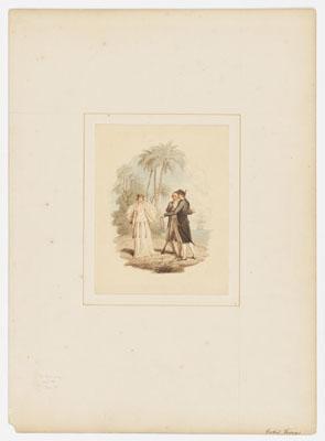 Deux officiers de la marine anglaise et une Tahitienne en robe de danse