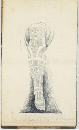 Tatouage de la jambe de la reine de Santa Christina (1837-1840)