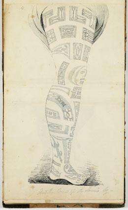 Autre vue de la jambe tatouée de la reine de Tahuata (1837-1840)