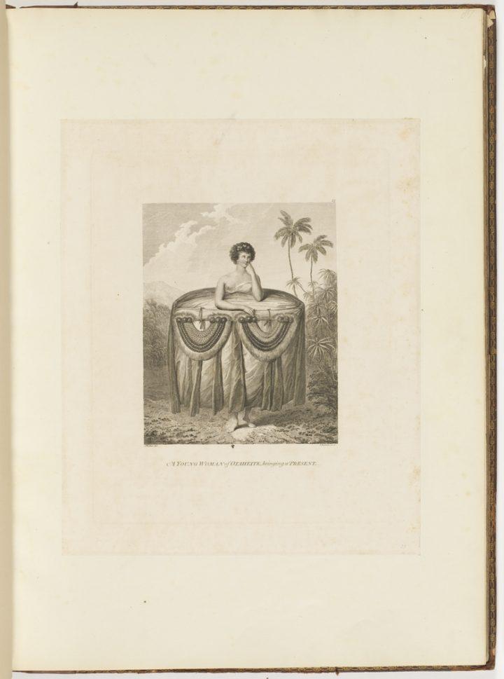 Jeune femme de Tahiti apportant des présents