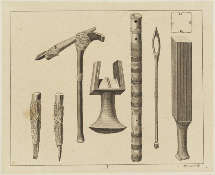 Outils utilisés par les Polynésiens à l'époque des voyages de Cook (1784-1786)