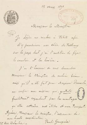 Lettre de candidature de Paul Gauguin (1891)