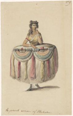 Costume d'une femme apportant des présents (1785)