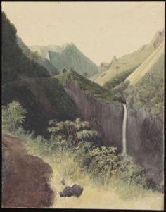 Vue du fort français et de la chute d'eau de la Fautaua (1854)