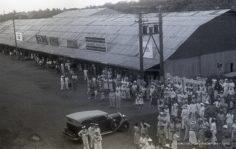 Foule à l'arrivée d'un navire (1936)
