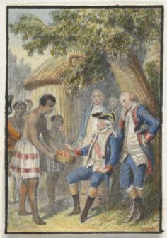 Tahitiens offrant des fruits à Bougainville (1768)