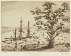 HMS Dolphin arrivant à Tahiti le 24 juin 1769
