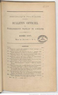 Bulletin officiel des Etablissements français de l'Océanie – Janvier 1897