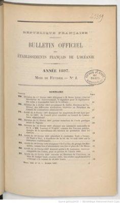 Bulletin officiel des Etablissements français de l'Océanie – Tome XXXVI – Février 1897