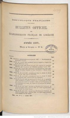 Bulletin officiel des Etablissements français de l'Océanie – Tome XXXVI –  Avril 1897