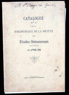 Extraits du catalogue N°2 de la Bibliothèque de la Société des Etudes Océaniennes (1928)