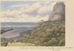 Bora Bora, vue depuis un fort en ruine au-dessus du village principal de la côte Est – Sir Edward Gennys Fanshawe – 5  septembre 1849