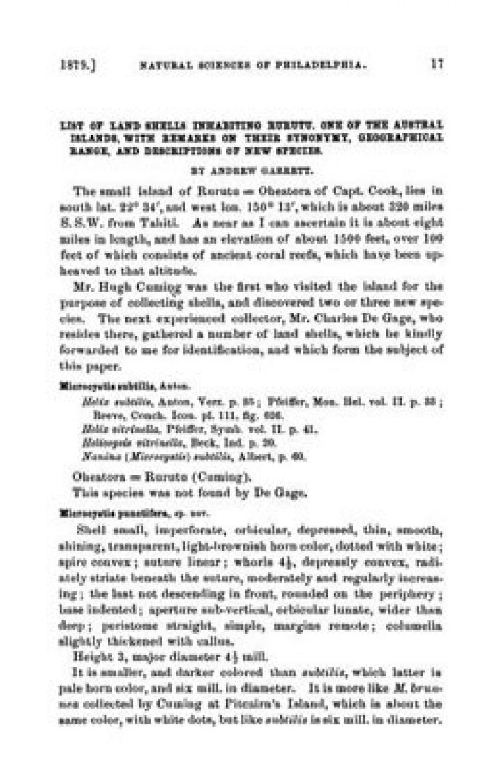 List of Land Shells Inhabiting Rurutu, One of the Austral Islands (1879)