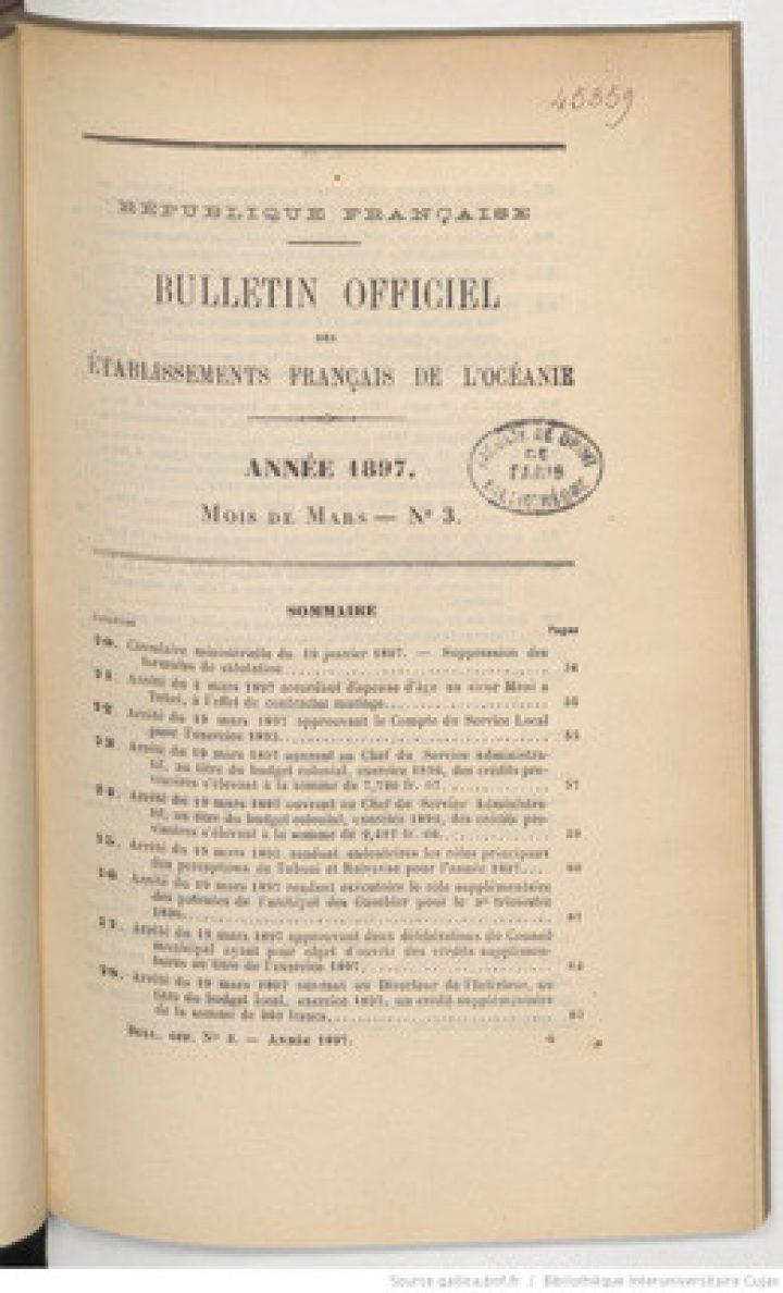 Bulletin officiel des Etablissements français de l'Océanie – Mars 1897