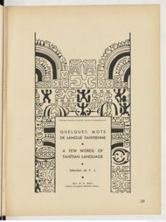 """Quelques mots de langue tahitienne / Art décoratif tahitien """"Tapa"""" (1936)"""