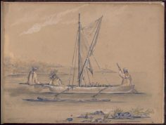 Tahitiennes en pirogue transportant des fruits – Dessin de C.C. Antiq (1845-1847)