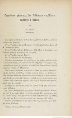 Caractères généraux des différents vanilliers cultivés à Tahiti (1924)