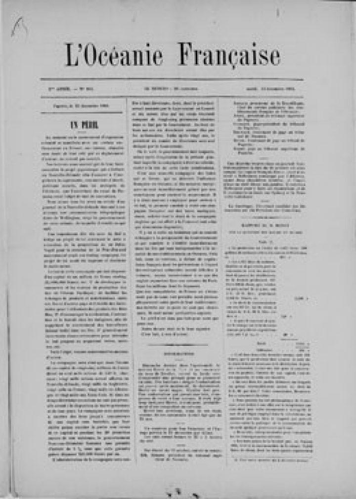 L'Océanie française – N°104 – 23 décembre 1884