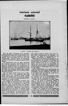 Tourisme colonial – Tahïti (1929)