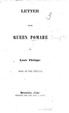 Lettre de la Reine Pomare à Louis Philippe, roi des Français