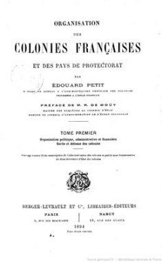 Organisation des colonies françaises et des pays de protectorat (1894)