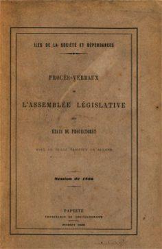 Procès verbaux de l'Assemblée législative des états du Protectorat (1866)