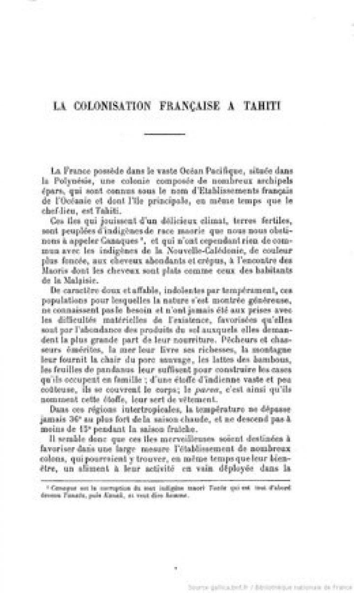 Questions diplomatiques et coloniales : La colonisation française à Tahiti (1906)