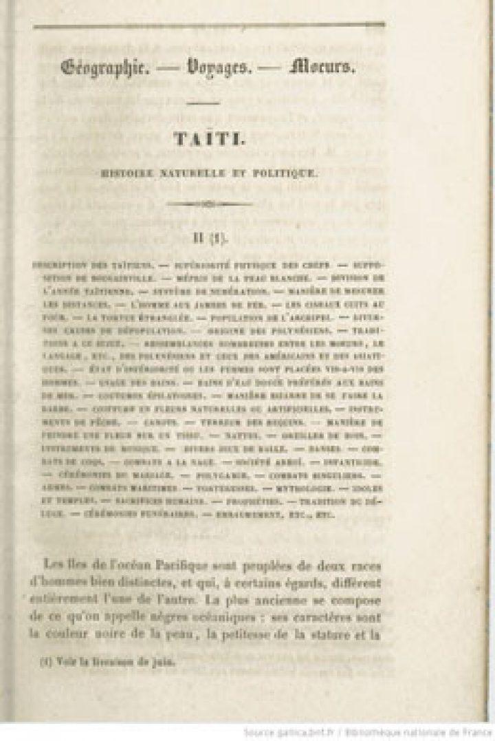 Taïti – Histoire naturelle et politique – II (1844)
