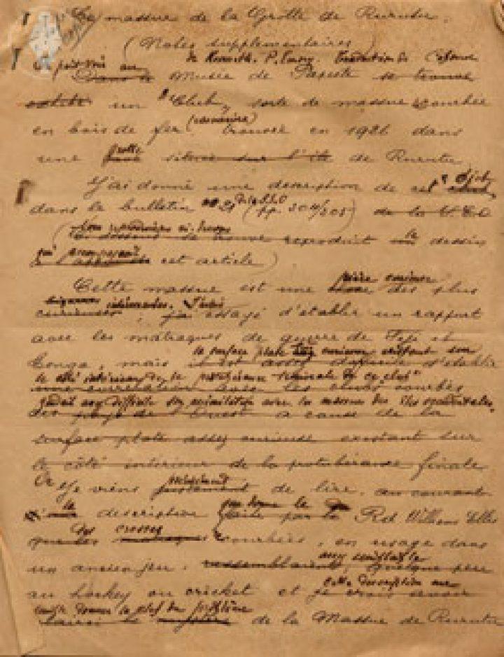 Manuscrit – Massue de la grotte de Rurutu