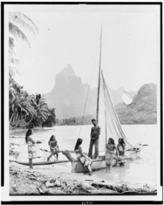 Tahitian man, women and sailboat
