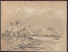 Taravao, côte de la presqu'île – Dessin de C.C. Antiq (1845-1847)