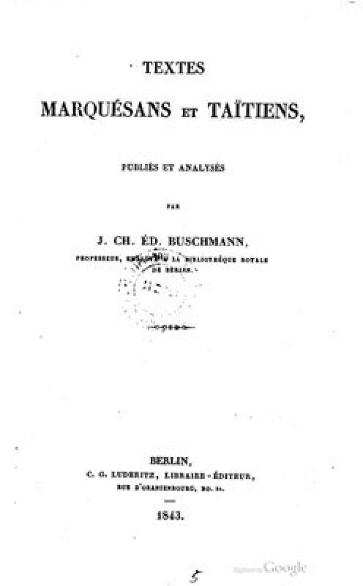 Textes marquésans et taïtiens (1843)
