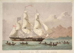 """The missionary ship """"Duff"""" arriving at Otaheite, lithograph by Kronheim & Co (1820)"""