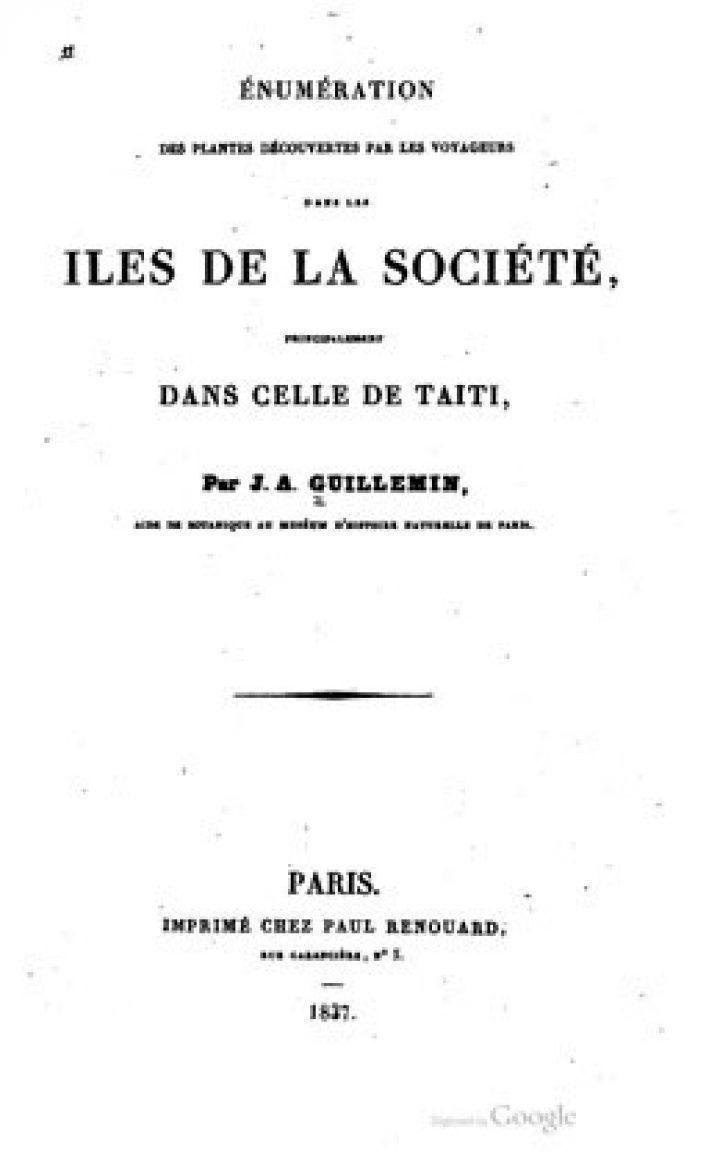 Zephyritis Taitensis – Énumération des plantes découvertes par les voyageurs dans les îles de la Société, principalement dans celle de Taîti
