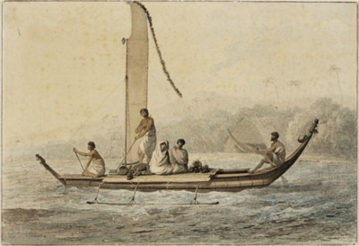 Pirogue de Tahiti par John Webber (1778)