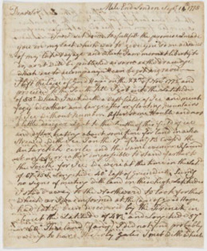 Lettre de James Cook au capitaine John Walker (1775)